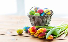 Vintage silver frame isolated  close up of easter eggs in basket and  flowers ... 0a50168cd0df