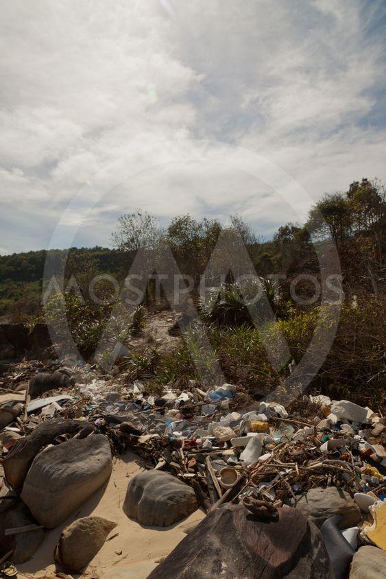 Spontaneous garbage dump on a beach Vietnam