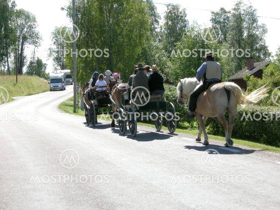 Horseman and wagons