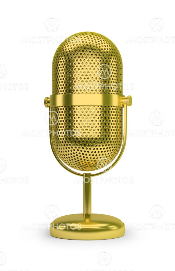 golden retro microphone
