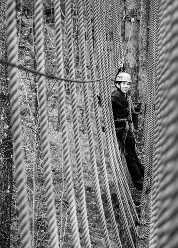 Boy playing in tree top adventure park. Gothenburg(...