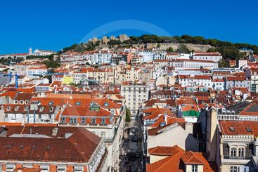 Aerial view of Lisbon old town, Portugal