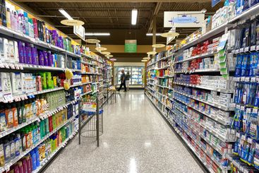 Health and beauty aisle of a Publix grocery store ready...