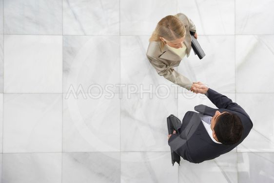 Two Businesspeople Shaking Hands In Lobby