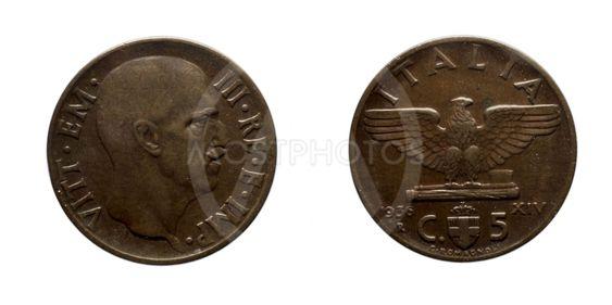 Five 5 cents Lire Copper Coin 1936 Empire Vittorio...
