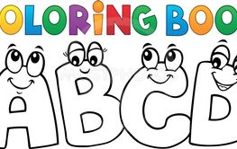Coloring book cartoon ABCD letters 1