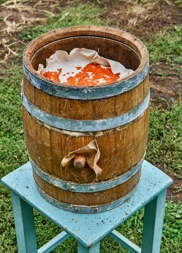 Open oak barrel filled with pepper mash and covered with...