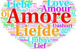 Italian: Amore. Heart shaped word cloud Love, on white
