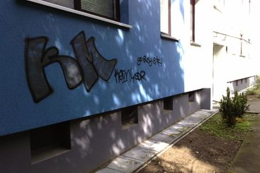 Graffiti on the wall of the building