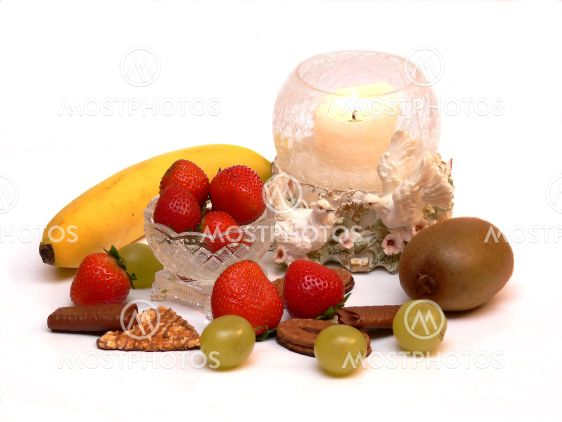 Fruit with candle