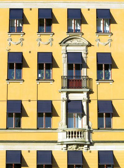 Yellow facade.