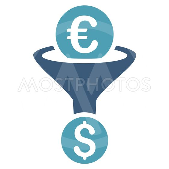 Euro Dollar Conversion Funnel Flat Vector Icon
