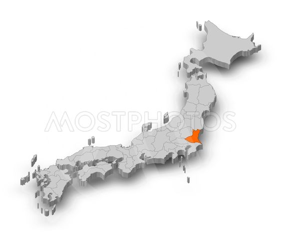 Map - Japan, Ibaraki - 3D-Illustration
