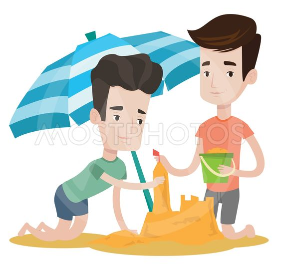 Male friends building sandcastle.