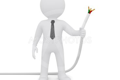 The white man holding a white power cord