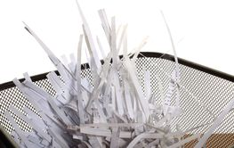 shredded papers close up