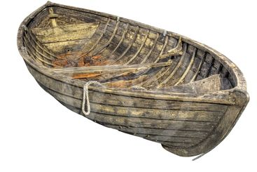 Old wooden rowboat.
