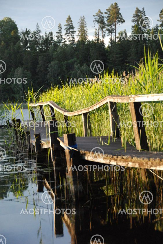 landing stage in small lake
