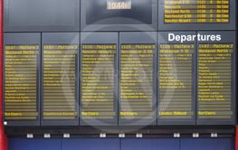 Arrivals and departures timetable at Liverpool Station