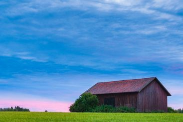 Wooden barn on green field at sunset