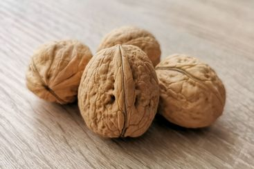 Four whole walnuts