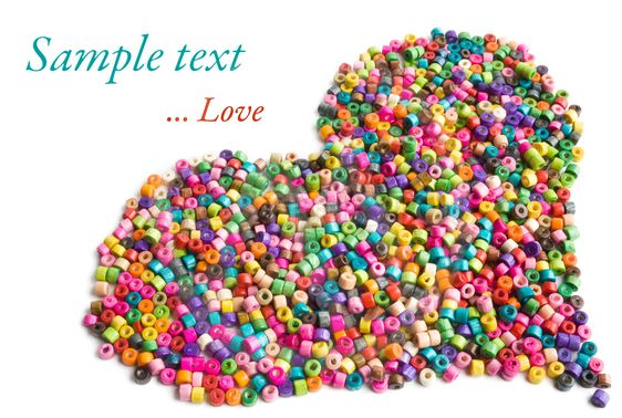 Colorful wooden beads heart