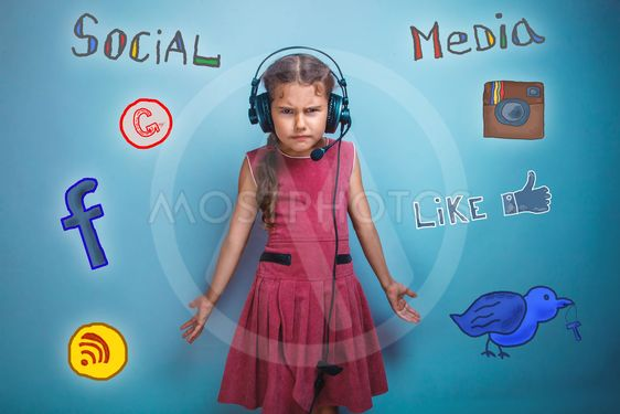 teen girl social media infographics sketch headphones...