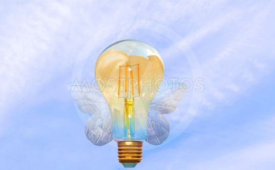 Realize your ideas and dreams. Flying light bulb.