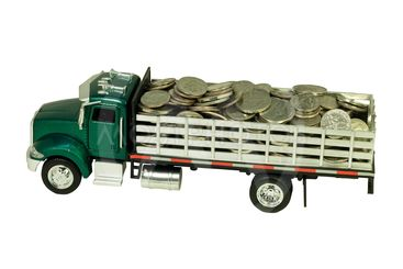 toy truck filled with coins