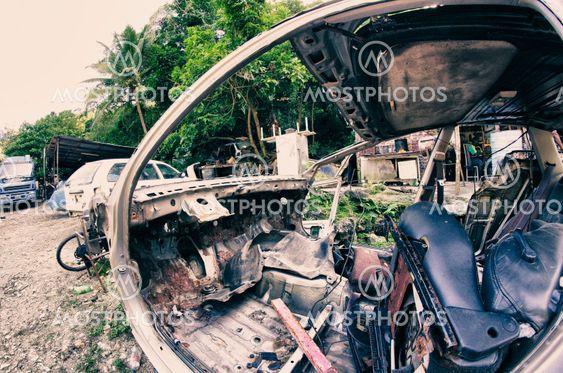 Abandoned Old Car, Fisheye View