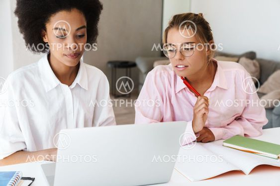 Focused multicultural students girls doing homework with...