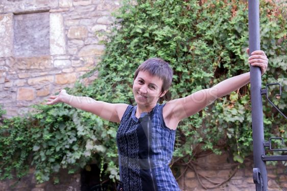 Carol happy in Ainsa (Spain)