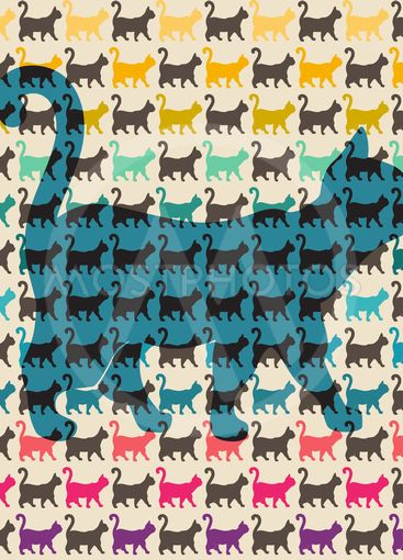 Seamless pattern. Texture with colorful cats with curved...