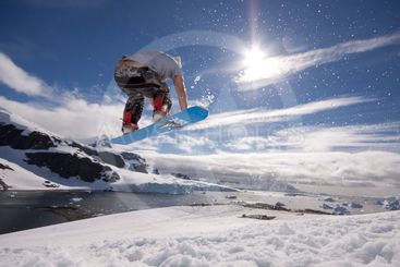 snowboard in Antartica