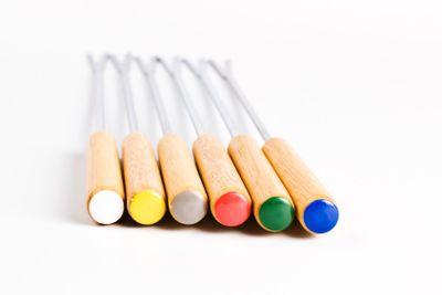 colored fondue forks