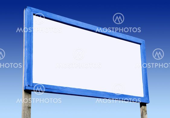 Big white blank advertising board and blue sky.