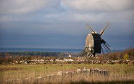 Höstlandskap på Öland med solbelyst väderkvarn