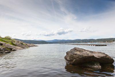 Lake Landscape with Rock