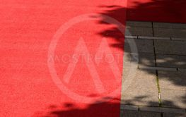 red carpet in the outdoor area in the midday sun, rolled...