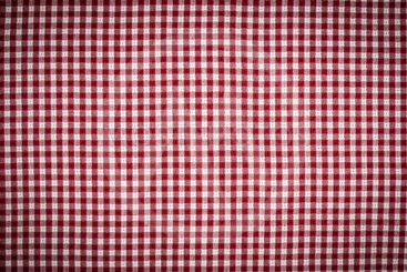 Red and White Gingham Checkered Tablecloth Background...