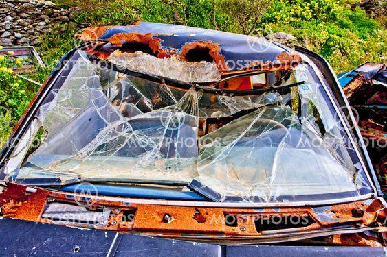 greece,cyclades, amorgos : wrecked car