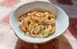 Genuine Italian seafood salad, with shrimps, mussels,...
