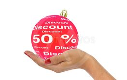 Hand holds 50 percent discount bauble