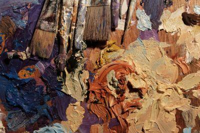 brushes, paints, oil paint