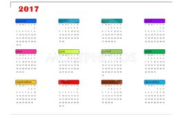 Simple colorful calendar for 2017 year in french language