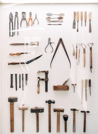 Vintage architect tools. Exhibit in the museum.