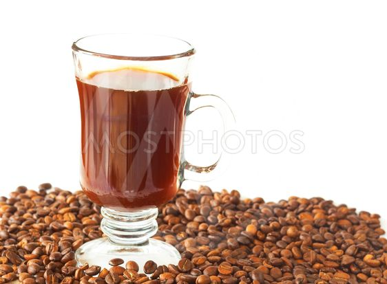 Cup of coffee and roasted beans