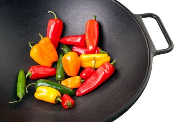 Colorful Peppers in Cast Iron Wok