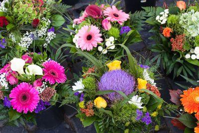Autumn flower bouquets on farmer market