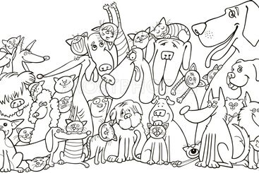 group of Cats and Dogs for coloring
